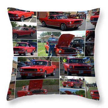 1965 Mustang Fastback Collage Throw Pillow