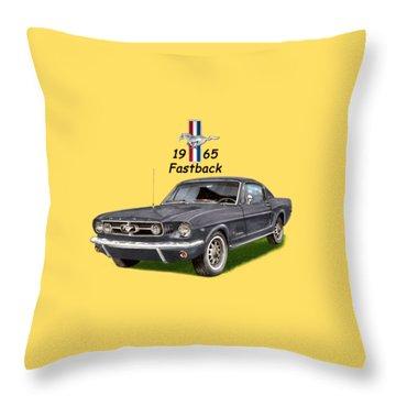1965 Mustang Fastback Throw Pillow by Jack Pumphrey