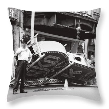 Throw Pillow featuring the photograph 1965 Removing Rko Theater Sign Boston by Historic Image