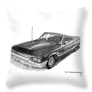 Throw Pillow featuring the drawing 1965 Thunderbird Convertible By Ford by Jack Pumphrey