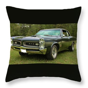 Throw Pillow featuring the photograph 1966 Black Gto by Daniel Adams