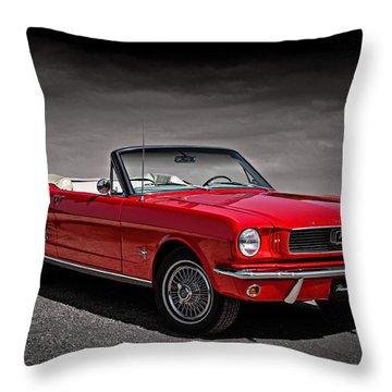 1966 Ford Mustang Convertible Throw Pillow by Douglas Pittman