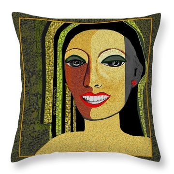 Throw Pillow featuring the digital art 1966 - Lady With Beautiful Teeth by Irmgard Schoendorf Welch