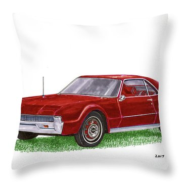 Throw Pillow featuring the painting 1966 Oldsmobile Toronado by Jack Pumphrey