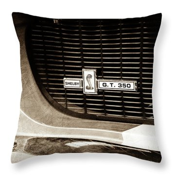 Throw Pillow featuring the photograph 1967 Ford Gt 350 Shelby Clone Grille Emblem -0759s by Jill Reger