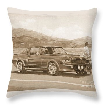 1967 Ford Mustang Fastback In Sepia Throw Pillow
