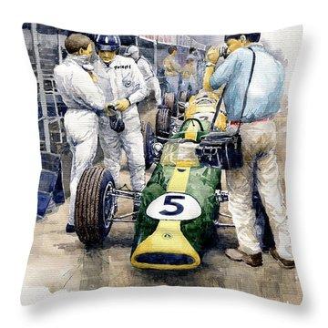1967 Lotus 49t Ford Coswoorth Jim Clark Graham Hill Throw Pillow by Yuriy Shevchuk
