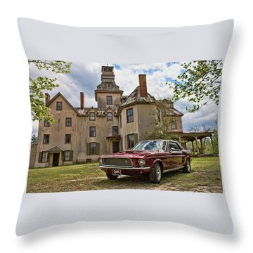 1967 Mustang At The Mansion Throw Pillow