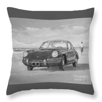 1967 Porsche 912 In Black And White Throw Pillow