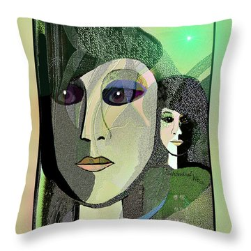 Throw Pillow featuring the digital art 1968 - A Dolls Head by Irmgard Schoendorf Welch