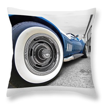 1968 Corvette White Wall Tires Throw Pillow