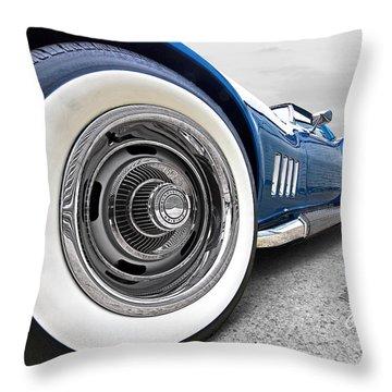 1968 Corvette White Wall Tires Throw Pillow by Gill Billington