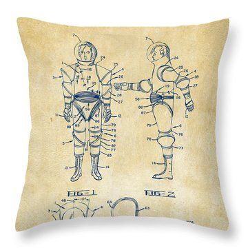 1968 Hard Space Suit Patent Artwork - Vintage Throw Pillow by Nikki Marie Smith