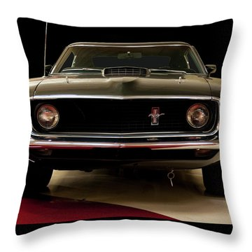 Throw Pillow featuring the digital art 1969 Ford Mustang by Chris Flees
