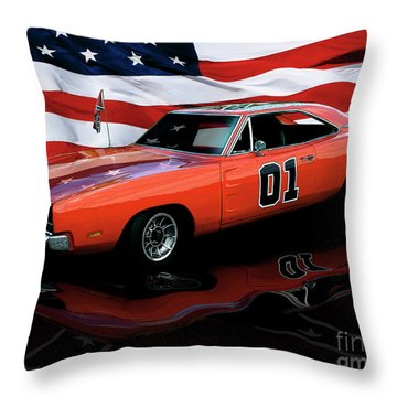 Throw Pillow featuring the photograph 1969 General Lee by Peter Piatt