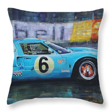 1969 Le Mans 24 Ford Gt40 Jacky Ickx Jackie Oliver Winner Throw Pillow by Yuriy Shevchuk