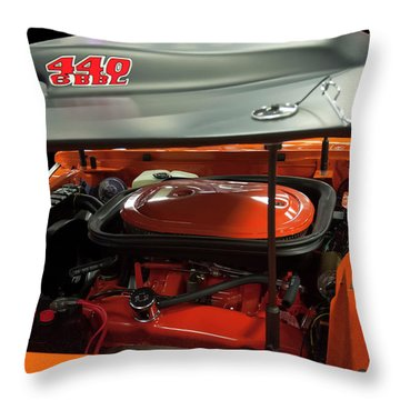 Throw Pillow featuring the painting 1969 Plymouth Road Runner A12 440 6 Pack by Chris Flees