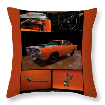 Throw Pillow featuring the photograph 1969 Plymouth Road Runner A12 by Chris Flees