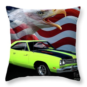 1969 Plymouth Road Runner Tribute Throw Pillow by Peter Piatt