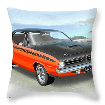 1970 Barracuda Aar  Cuda Classic Muscle Car Throw Pillow by John Samsen