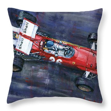 1970 Monaco Gp Ferrari 312 B Jacky Ickx  Throw Pillow by Yuriy Shevchuk