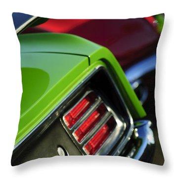 1970 Plymouth Barracuda Cuda Taillight Emblem Throw Pillow by Jill Reger