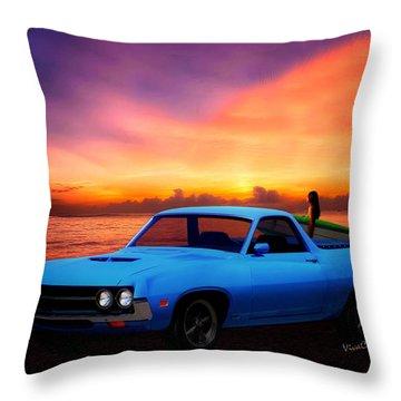 1970 Ranchero Dominican Beach Sunrise Throw Pillow