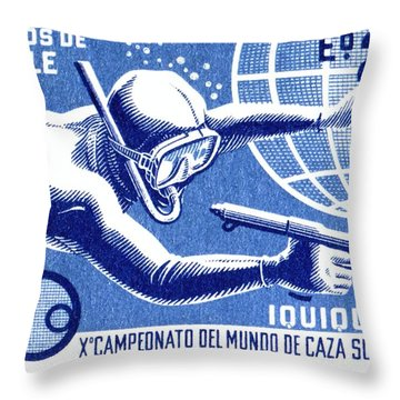 1971 Chile Spearfishing Championship Postage Stamp Throw Pillow