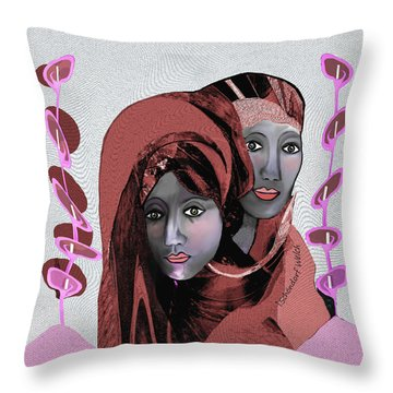 Throw Pillow featuring the digital art 1971- Rosecoloured Portrait 2017 by Irmgard Schoendorf Welch