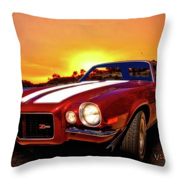 1971 Z28 Camaro Hdr Vivid Remembrance Throw Pillow