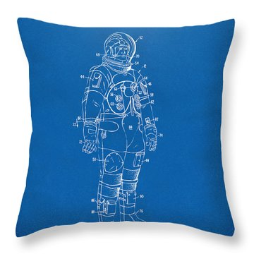 1973 Astronaut Space Suit Patent Artwork - Blueprint Throw Pillow