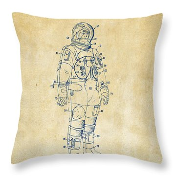 1973 Astronaut Space Suit Patent Artwork - Vintage Throw Pillow