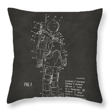 Throw Pillow featuring the digital art 1973 Space Suit Patent Inventors Artwork - Gray by Nikki Marie Smith