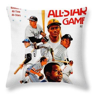 1974 Baseball All Star Game Program Throw Pillow