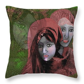Throw Pillow featuring the digital art 1974 - Women In Rosecoloured Clothes - 2017 by Irmgard Schoendorf Welch