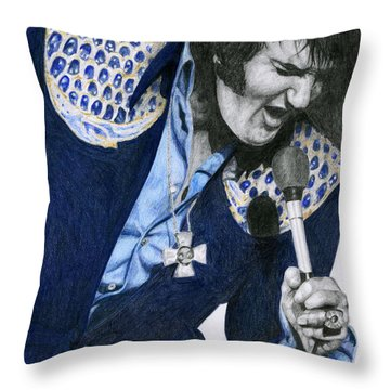 1975 Dark Blue Two Piece Suit Blue Gold Ornaments Throw Pillow