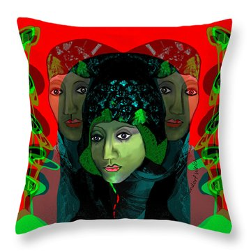 Throw Pillow featuring the digital art 1975 - Mystery Woman by Irmgard Schoendorf Welch