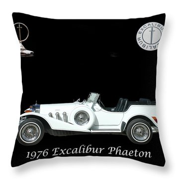 Throw Pillow featuring the mixed media 1976 Excalibur Poster by Jack Pumphrey