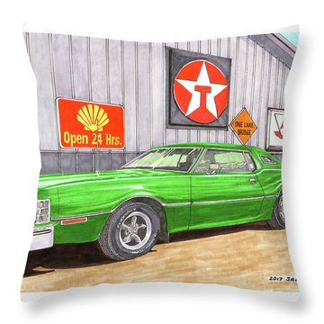 Throw Pillow featuring the painting 1976 Ford Thunderbird by Jack Pumphrey