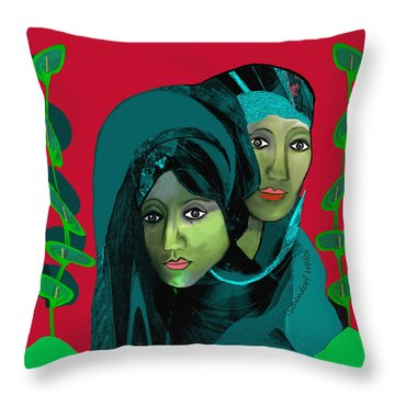 Throw Pillow featuring the digital art 1976 - Gloom by Irmgard Schoendorf Welch