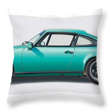 1976 Porsche Euro Carrera 2.7 Illustration Throw Pillow
