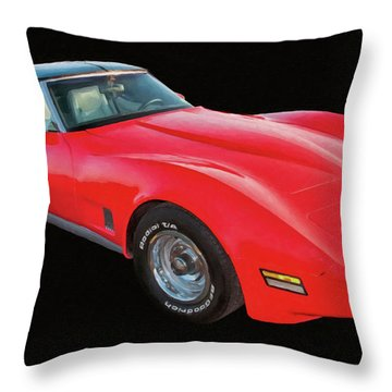 1977 Chevy Corvette T Tops Digital Oil Throw Pillow