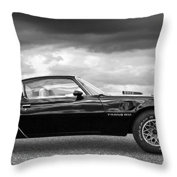 1978 Trans Am In Black And White Throw Pillow