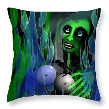 Throw Pillow featuring the digital art 1981 - But My New Silicon Breasts Will Last Forever 2017 by Irmgard Schoendorf Welch