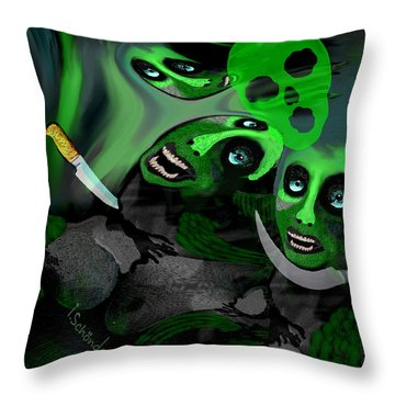 Throw Pillow featuring the digital art  1982 Violence And Fear 2017 by Irmgard Schoendorf Welch