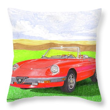 Throw Pillow featuring the painting 1983 Alfa Romero Spider Veloce by Jack Pumphrey