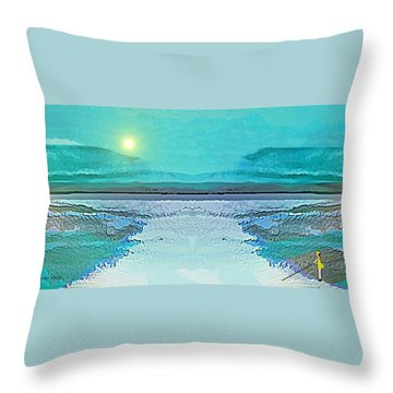 Throw Pillow featuring the digital art 1983 - Blue Waterland -  2017 by Irmgard Schoendorf Welch