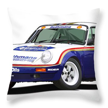 1984 Porsche 911 Sc Rs Illustration Throw Pillow