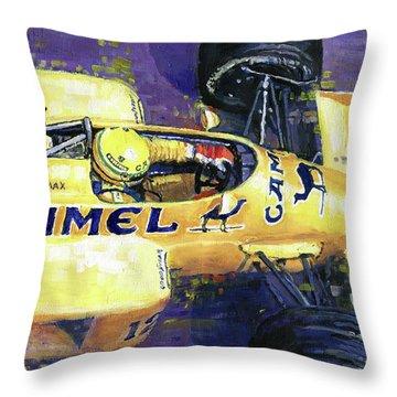 1987 Spa Francorchamps Lotus 99t Ayrton Senna Throw Pillow by Yuriy Shevchuk