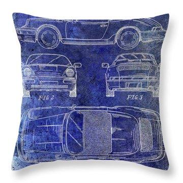 1990 Porsche 911 Patent Blue Throw Pillow